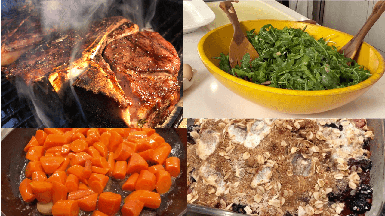 Perfect Sous Vide Steak w/ Carrots, Arugula Salad, and Berry Crumble