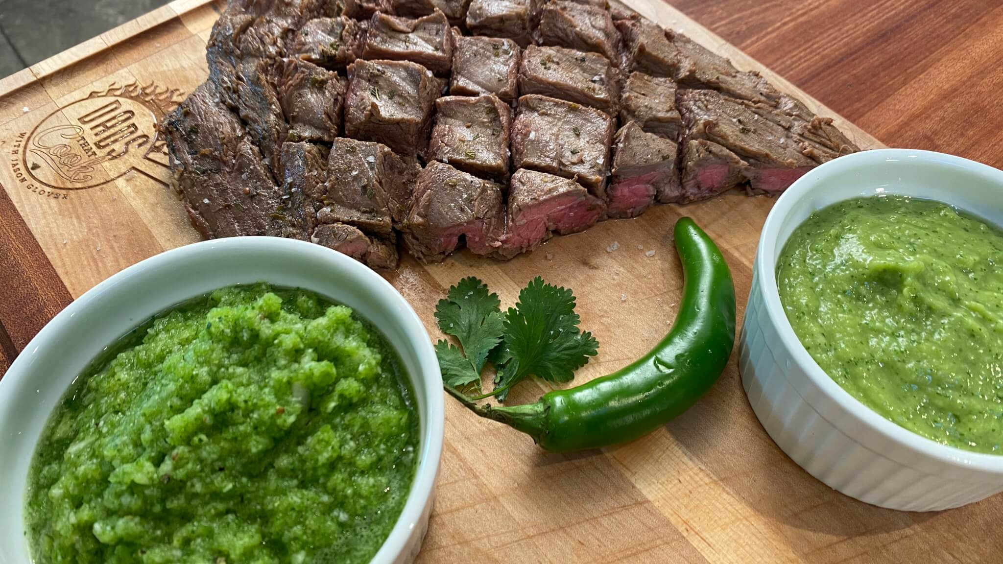 Beer Marinated Flank Steak with Aji Sauce and Colombian Guacamole