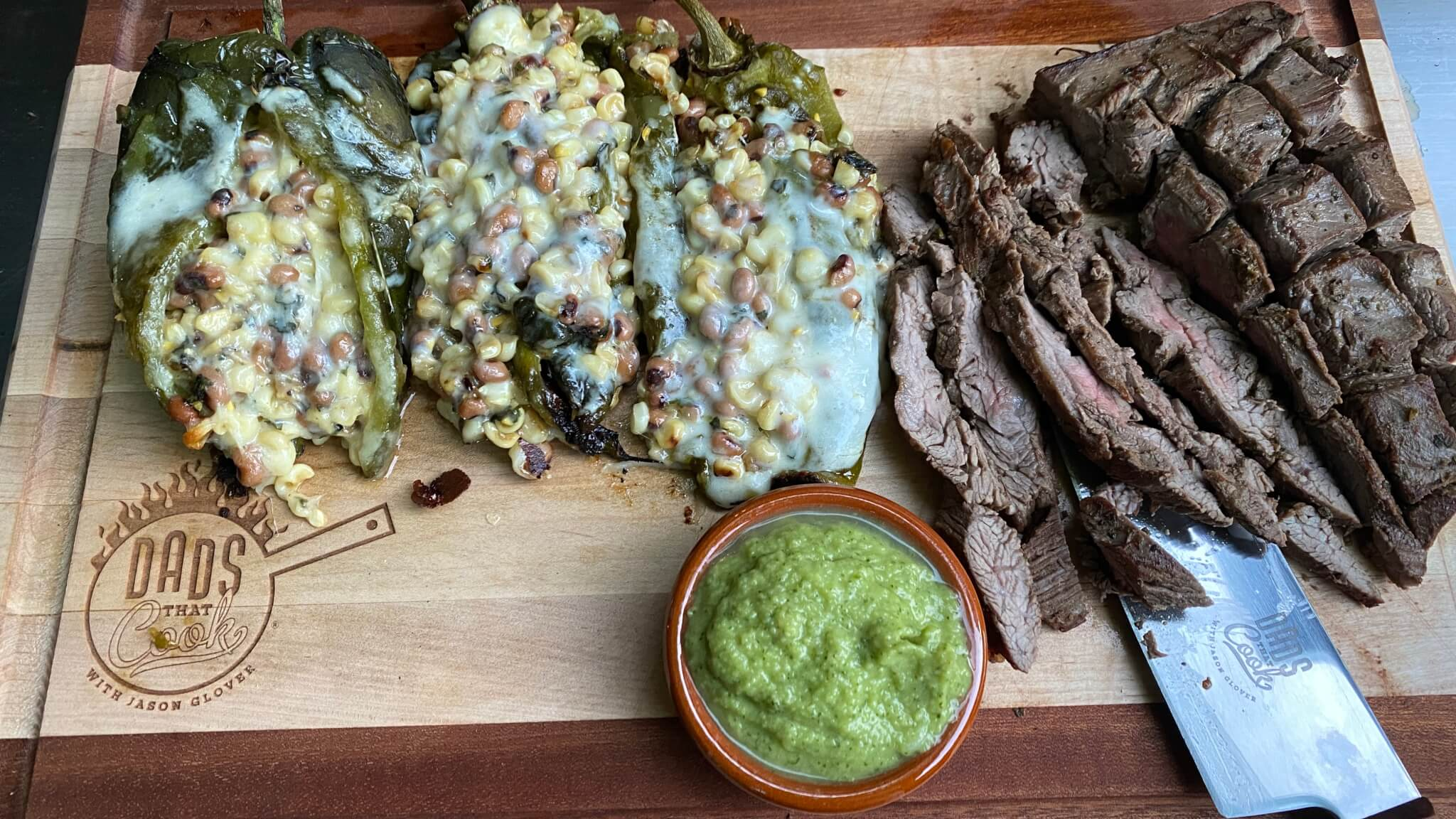 BBQ'd Stuffed Poblano Peppers