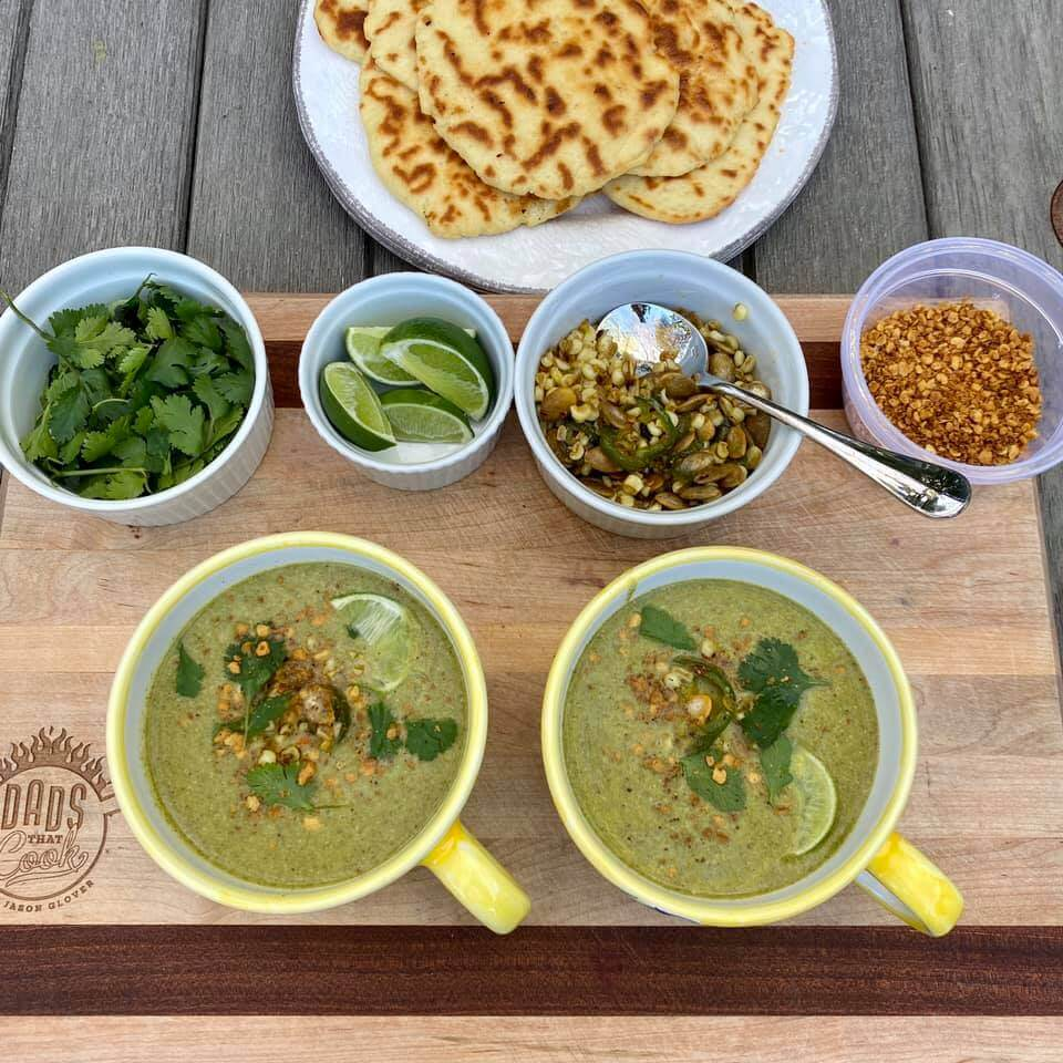 Broccoli Jalapeño Soup with Naan Bread